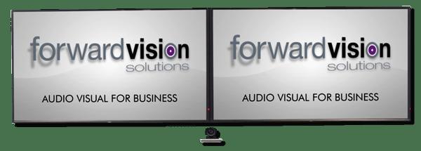 AV screen and webcam setup