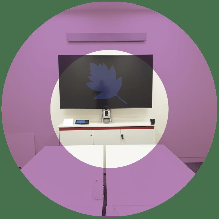 AV credenza with 1 built in monitor